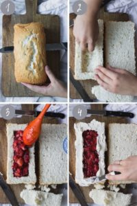 4 images cutting rectangle in cake and filling with strawberry filling.