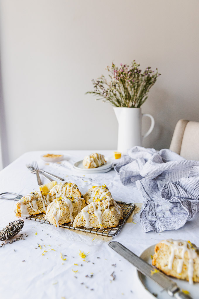 table set with lemon lavender scones and flowers