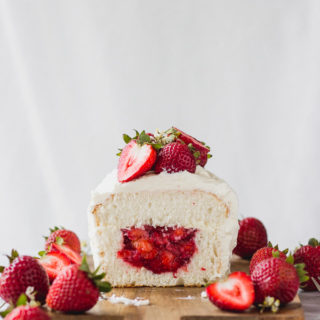 Angel Food Cake with Strawberry Filling | Fork in the Kitchen