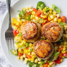 Seared Scallops on Warm Corn Salad | Fork in the Kitchen