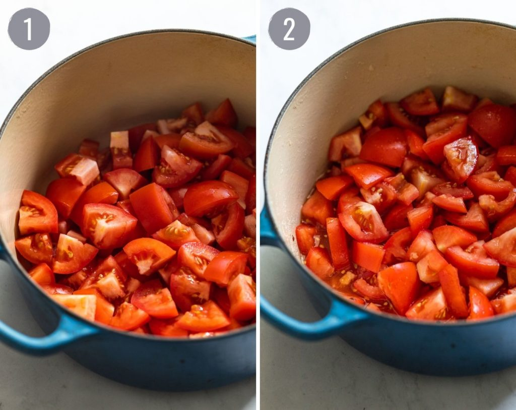 Two images of tomatoes in dutch oven with and without additional ingredients.
