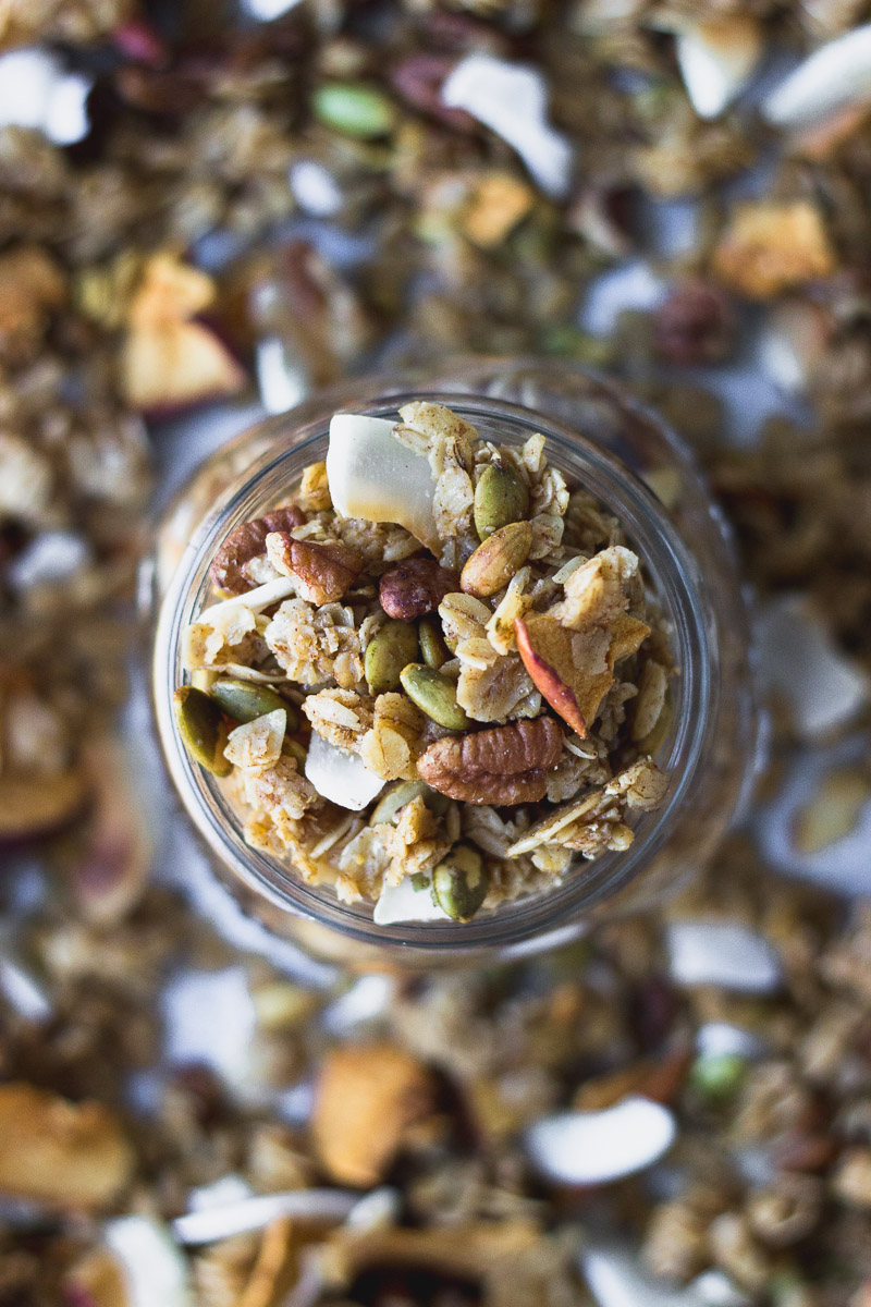easy autumn spice granola in jar by fork in the kitchen