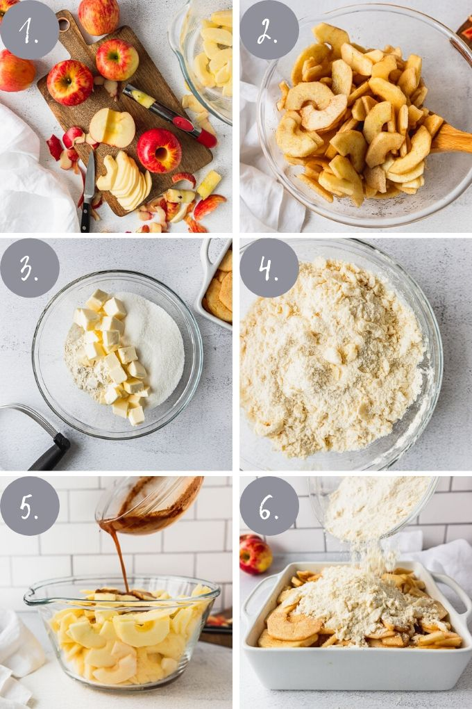 step by step photos for how to make apple crisp with no oats
