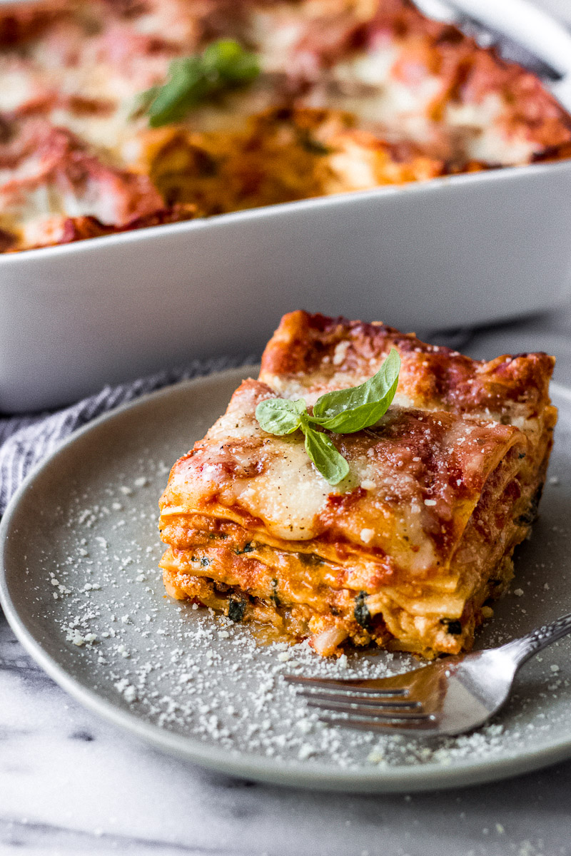 Slice of lasagna on plate with parmesan sprinkled.