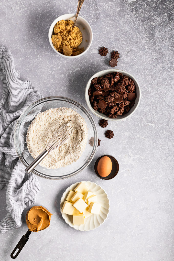 peanut butter cookie ingredients with chocolate stars