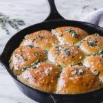 Garlic Herb Dinner Rolls in cast iron skillet   Fork in the Kitchen