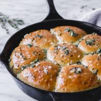 Garlic Herb Dinner Rolls in cast iron skillet | Fork in the Kitchen