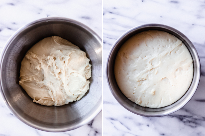 rising dough for homemade dinner rolls by fork in the kitchen