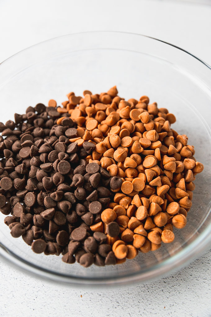 Bowl of chocolate and butterscotch chips.