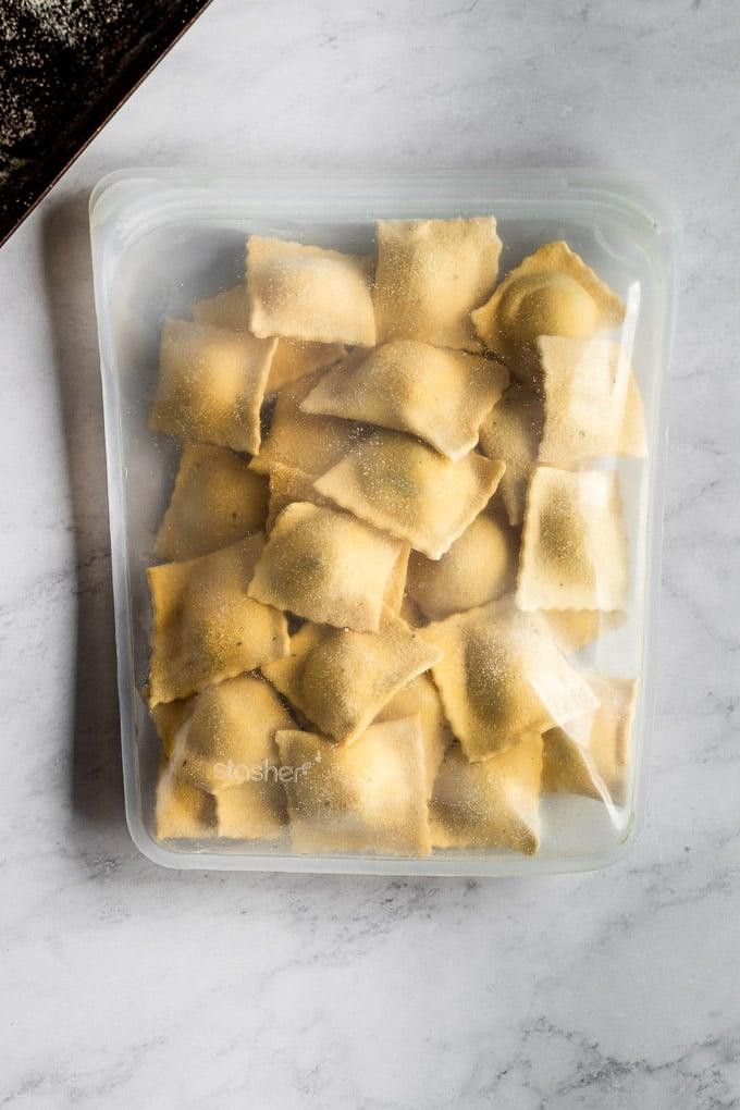 Stasher bag with frozen ravioli inside.