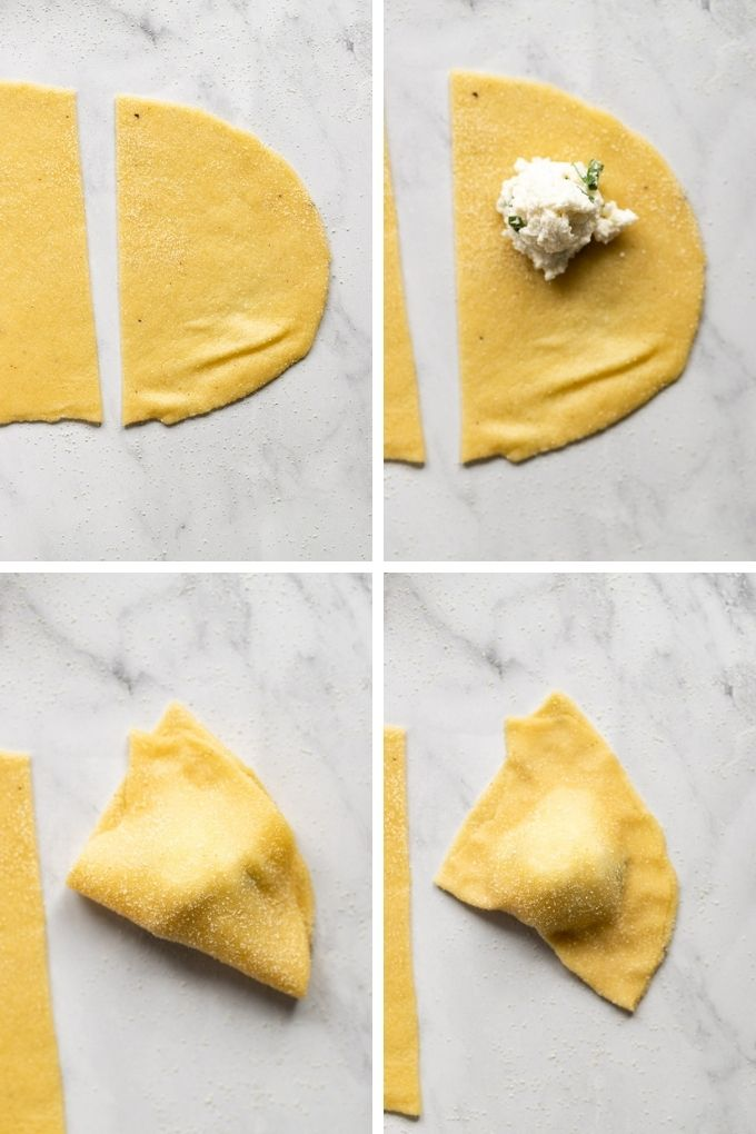 4 images with end piece of pasta sheet cut off, with filling inside.