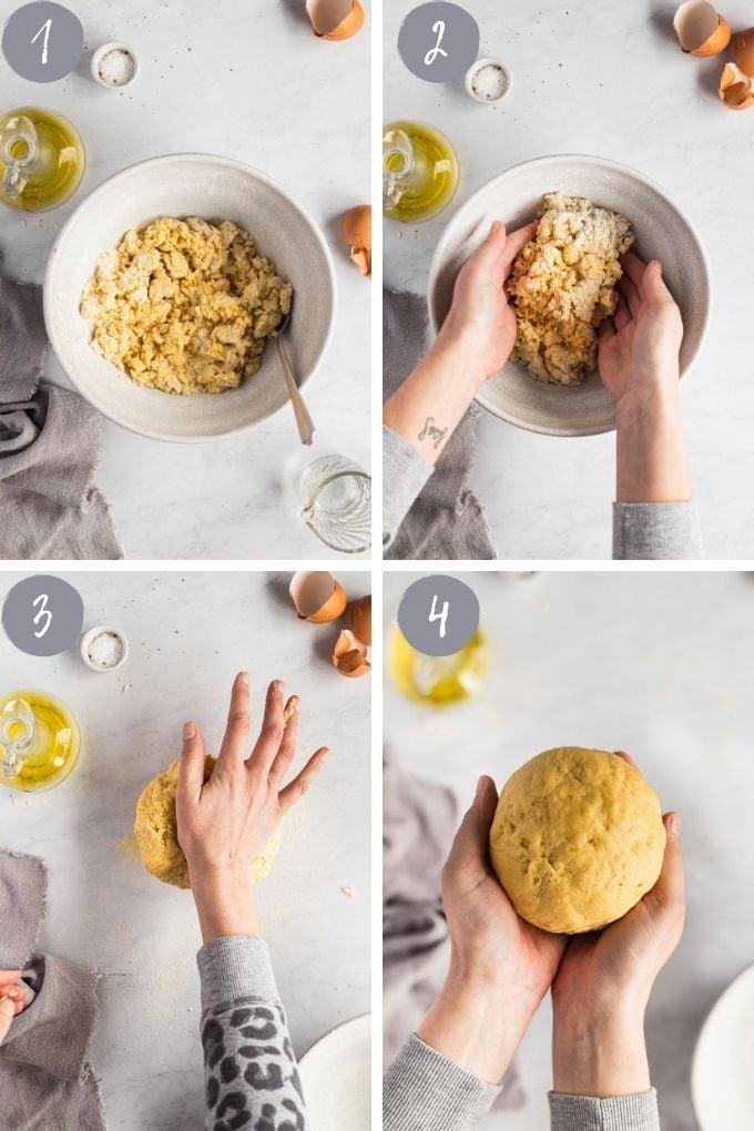 4 images kneading pasta dough