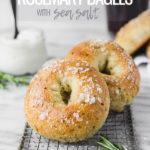 bagels on cooling rack with sea salt