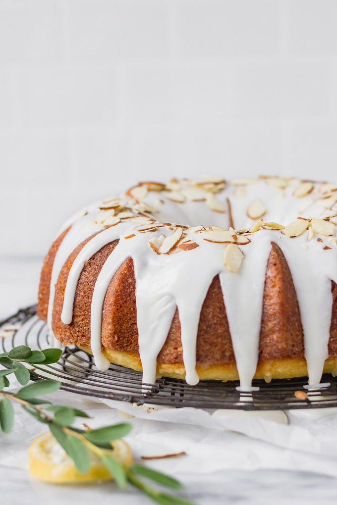 lemon almond bundt cake on wire rack