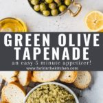 olive tapenade pinterest image with text overlay