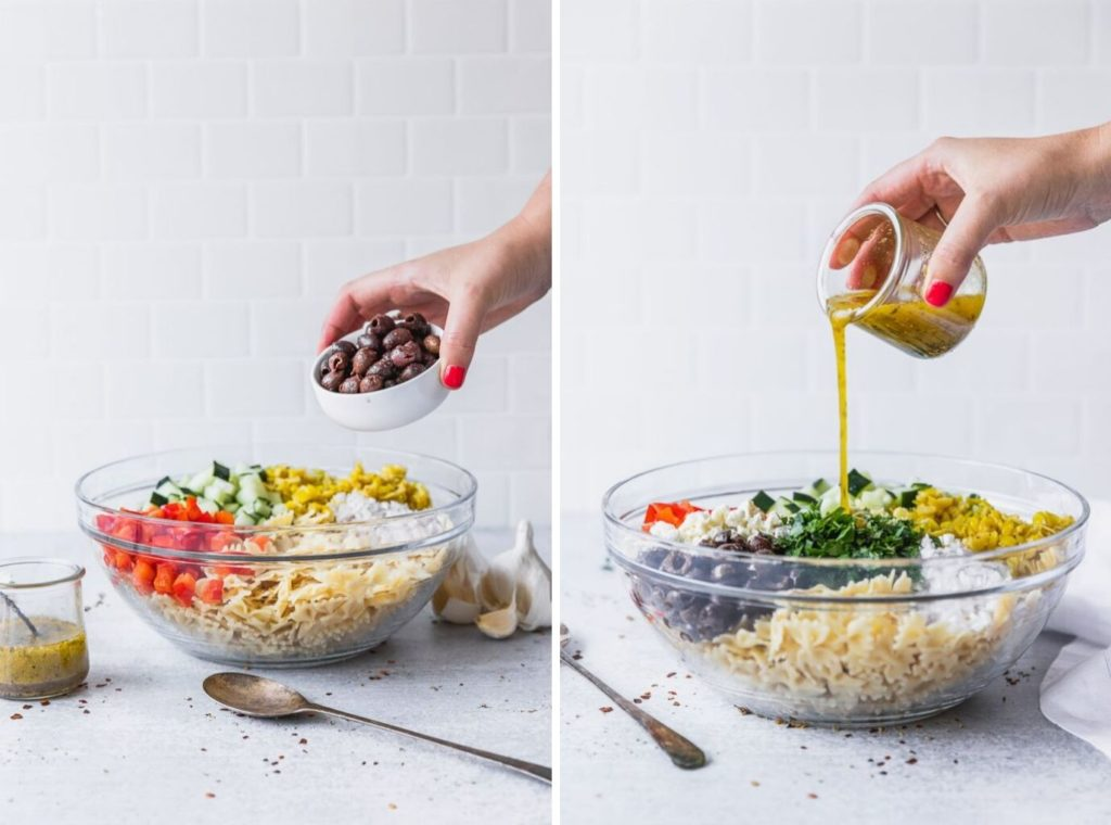 mediterranean pasta salad ingredients going into bowl