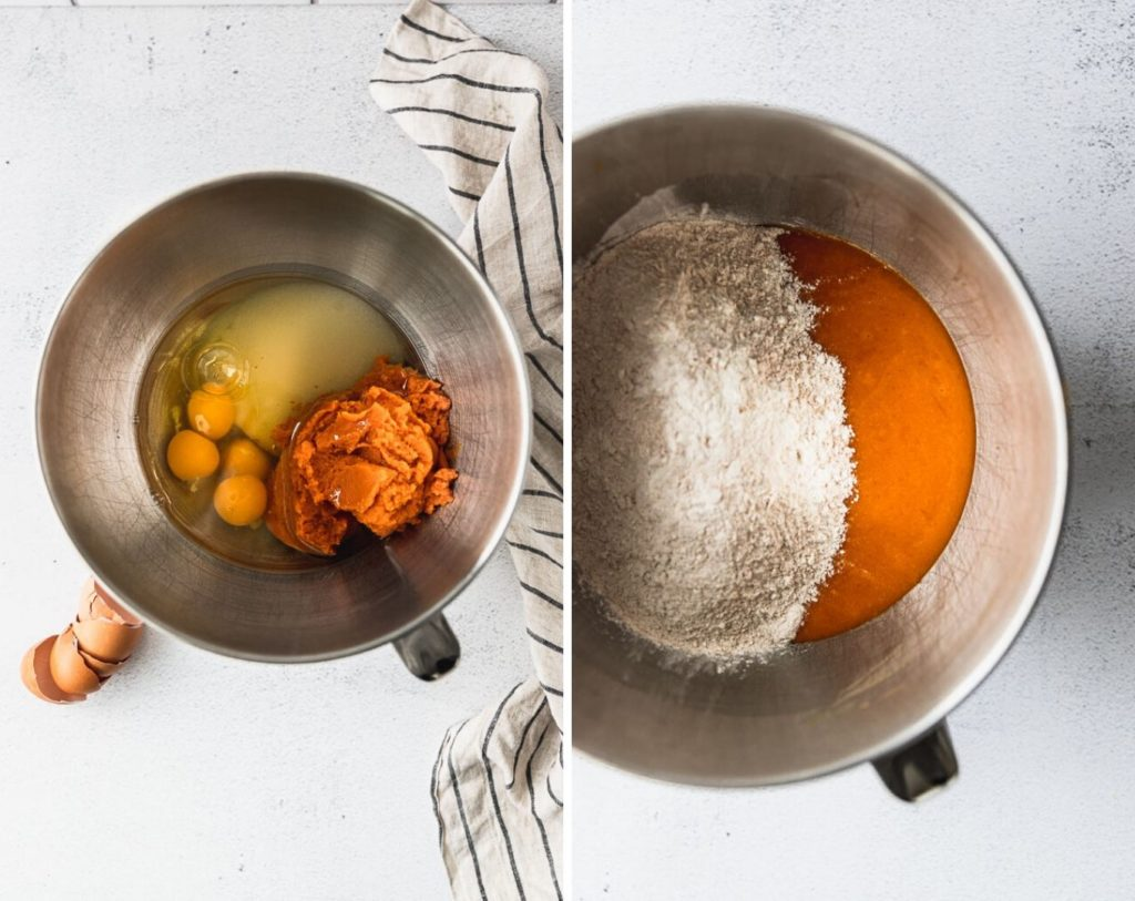 Mixing bowl with eggs, pumpkin, sugar, and adding dry ingredients.