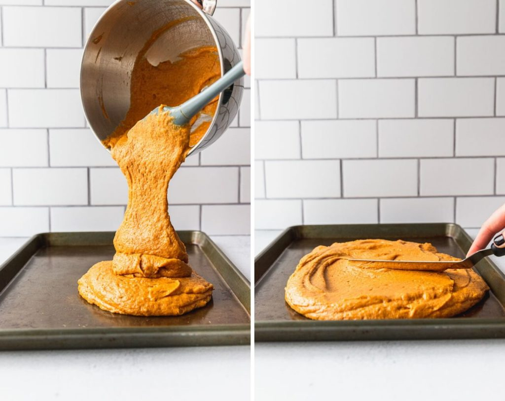 Pouring pumpkin bar batter into jelly roll pan.