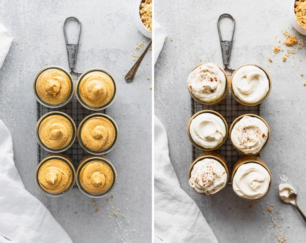 side by side of pumpkin mousse then whipped cream on top of jars