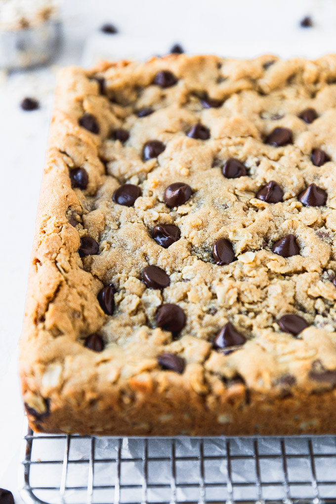 close up of uncut chocolate chip cookie bars