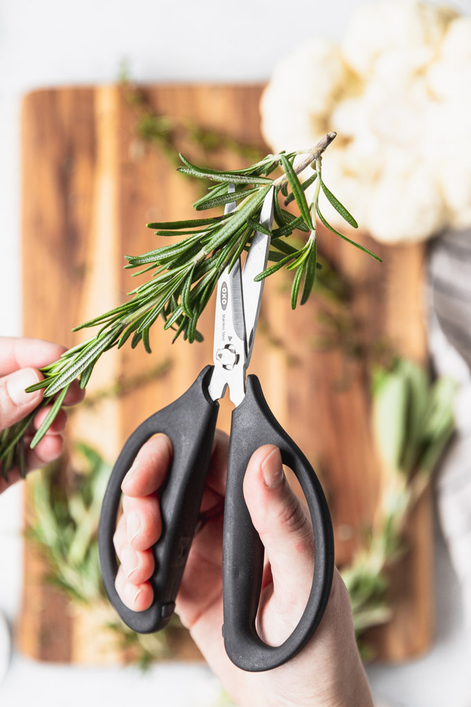 herb scissors cutting rosemary