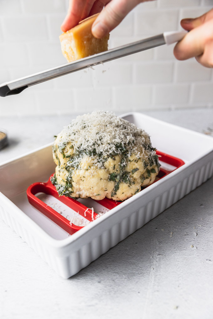 cauliflower on roasting rack with parmesan