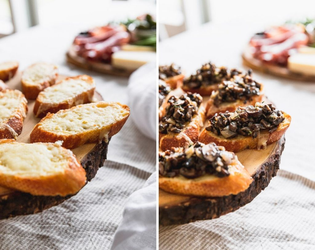 crostini with gruyere photo next to mushrooms on top of crostini