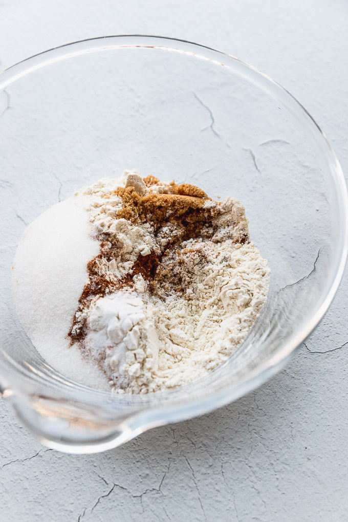 dry ingredients in mixing bowl for banana carrot muffins