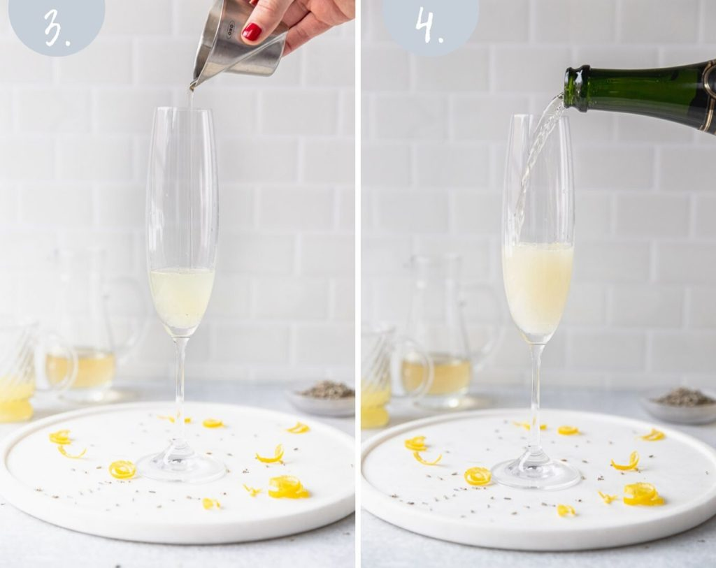 pouring lavender simple syrup and champagne into glass