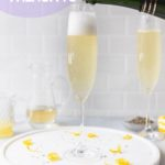 pouring champagne into lavender french 75