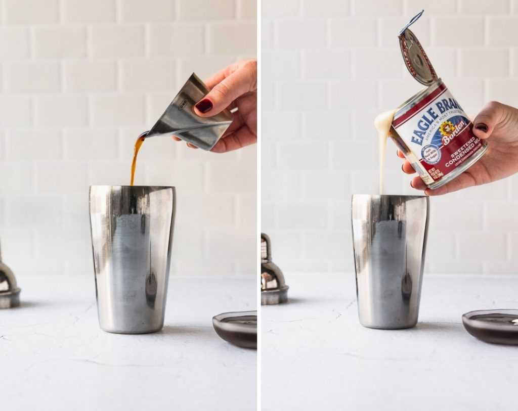 side by side photos making chocolate white russian with coffee liqueur and sweetened condensed milk