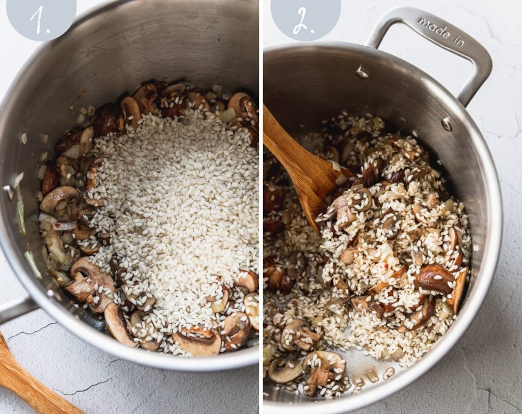 Side by side photos of arborio rice going into mushroom mixture in stock pot.