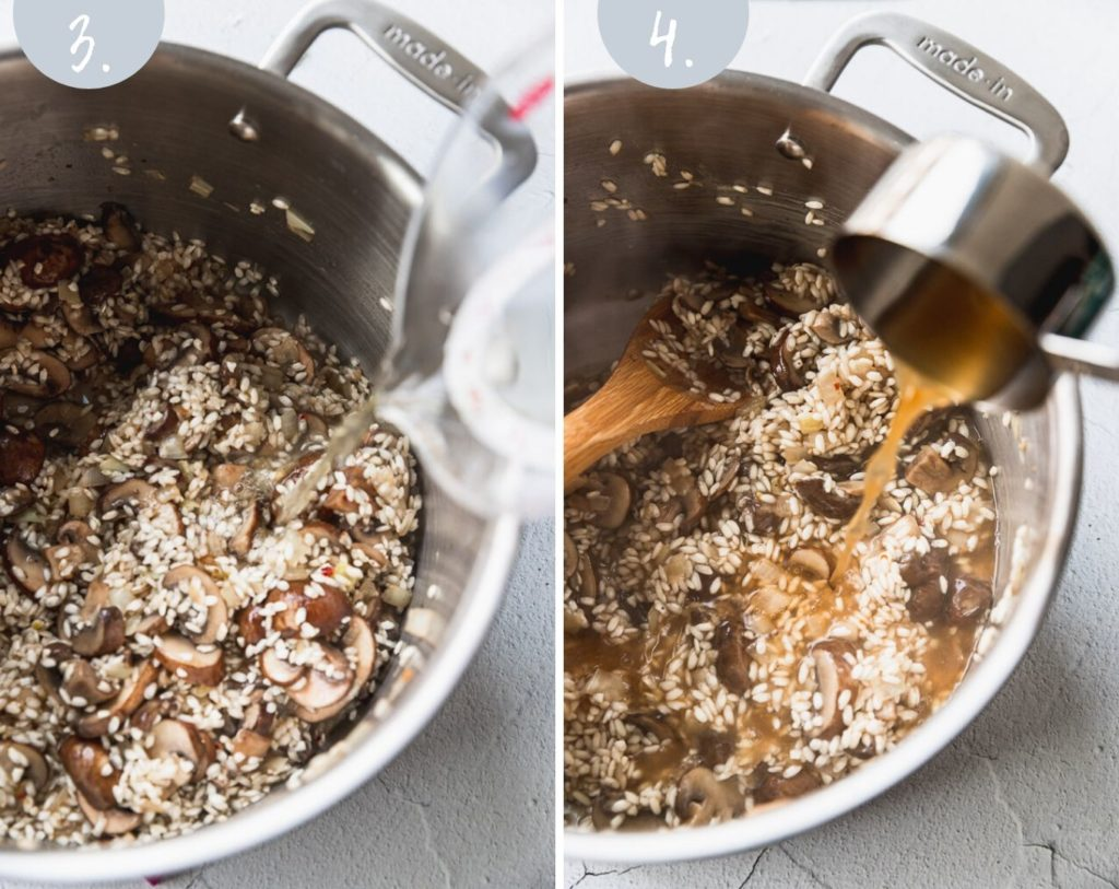 Side by side photos pouring wine and vegetable stock into risotto stock pot.