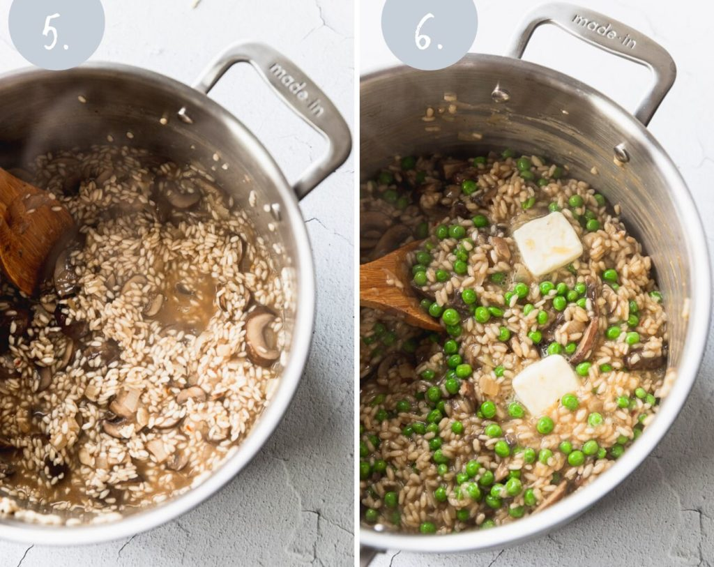 Side by side photos of risotto when cooking and risotto with peas and butter added.