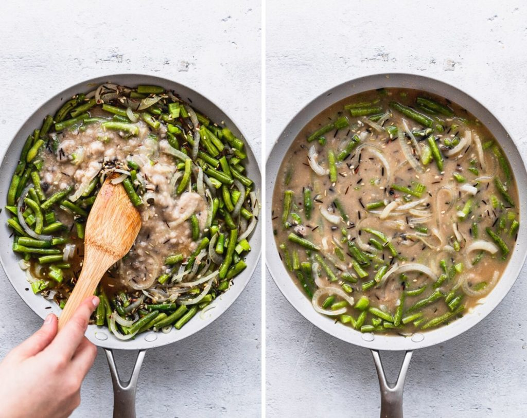 side by side photos of stirring in mushroom soup in skillet and the finish product after stirring