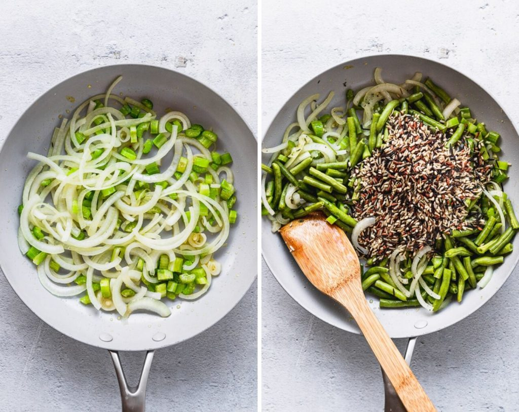 side by side photos of onions and celery cooking, then adding wild rice to mixture