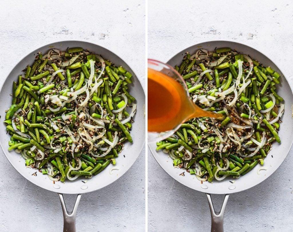 adding vegetable stock to wild rice casserole mixture