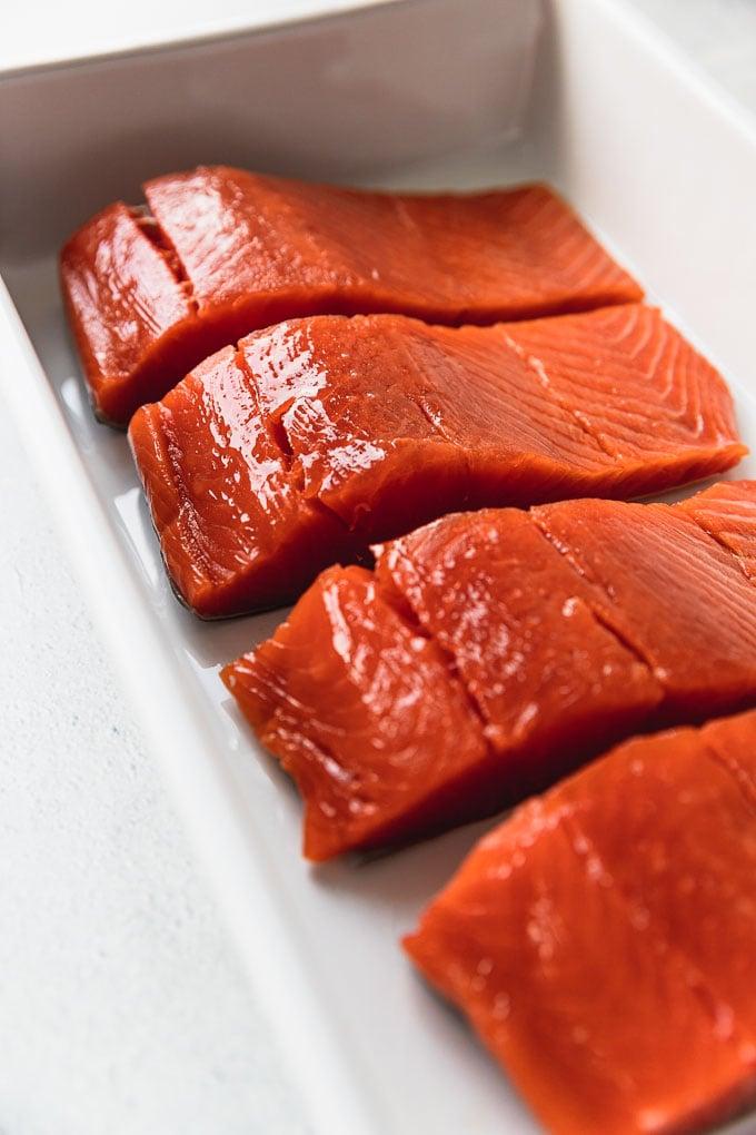 salmon filets in baking dish