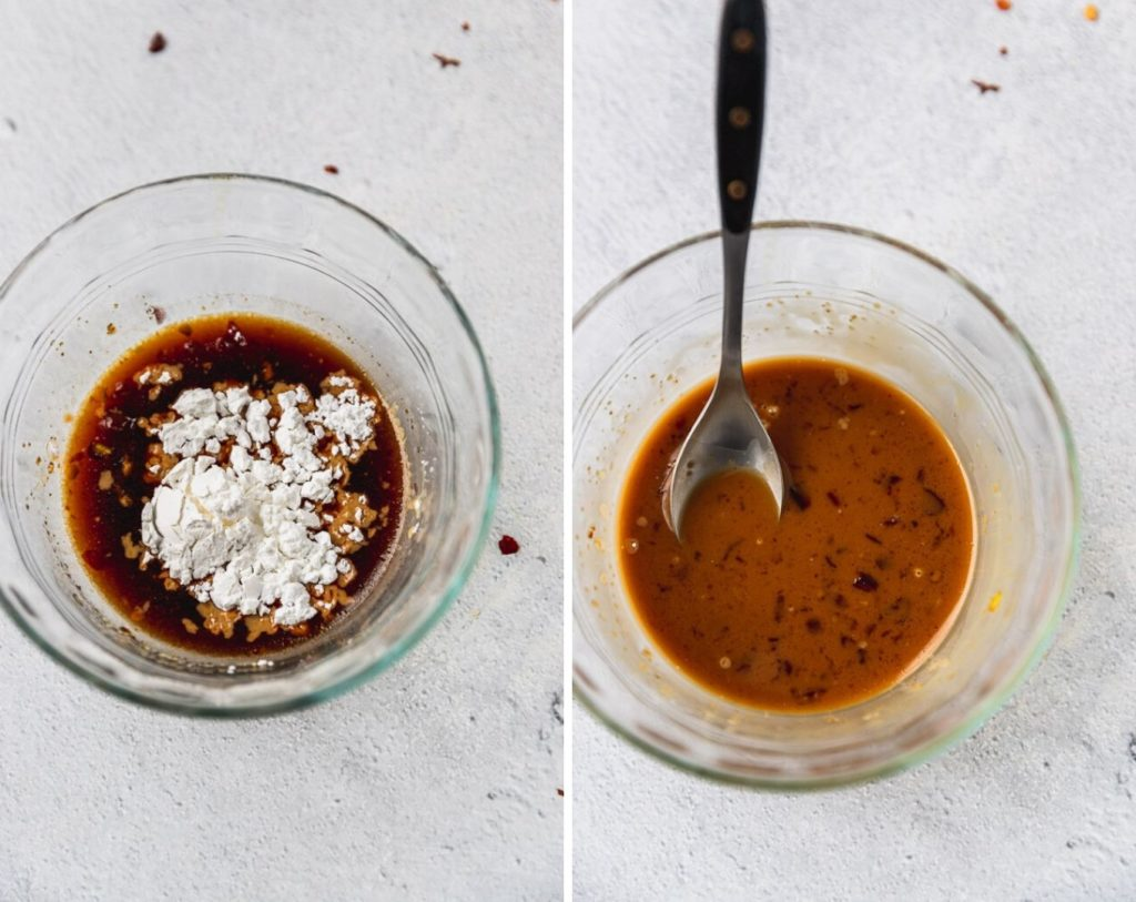 side by side images with corn starch being added to teriyaki sauce
