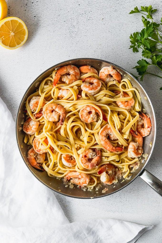 skillet with shrimp scampi pasta