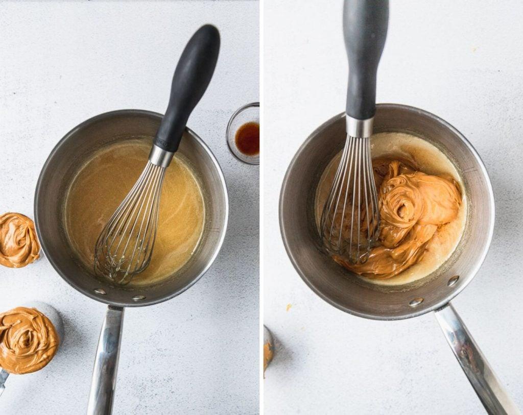 sauce pan with scotcheroo sauce