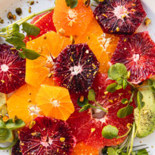 up close citrus salad with avocado and watercress