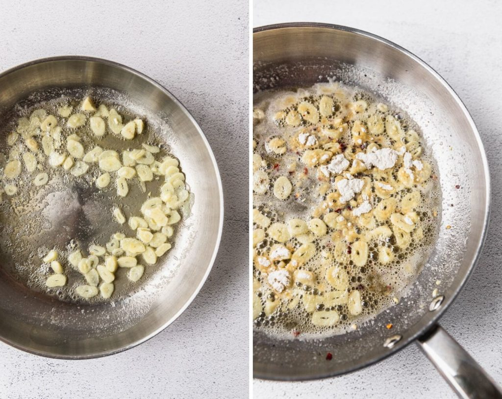 side by side photos of garlic cooking in butter and adding flour and spices