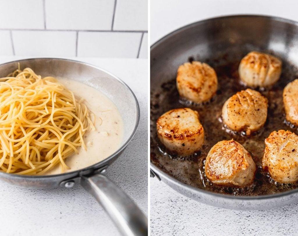 spaghetti pasta in garlic cream sauce photo next to seared scallops in skillet