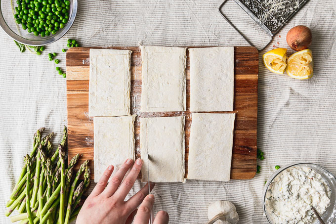 scoring puff pastry rectangles with knife