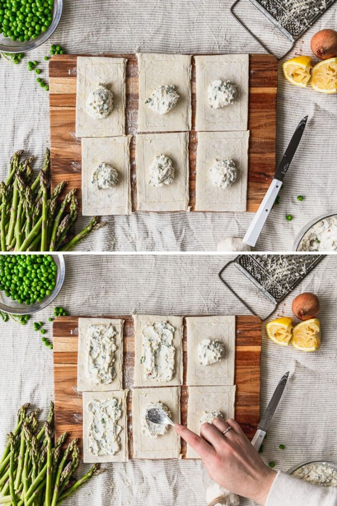side by side photos spreading ricotta filling in the center of each puff pastry rectangle