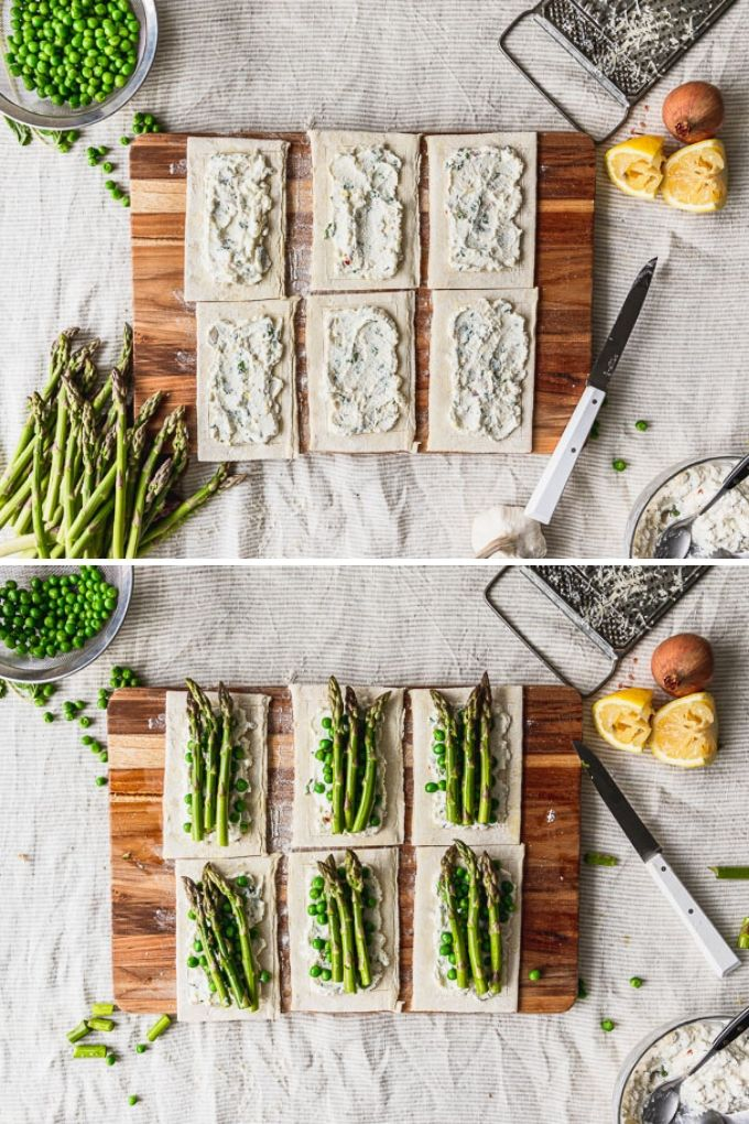 side by side photos of puff pastry filled with ricotta and topped with asparagus and peas