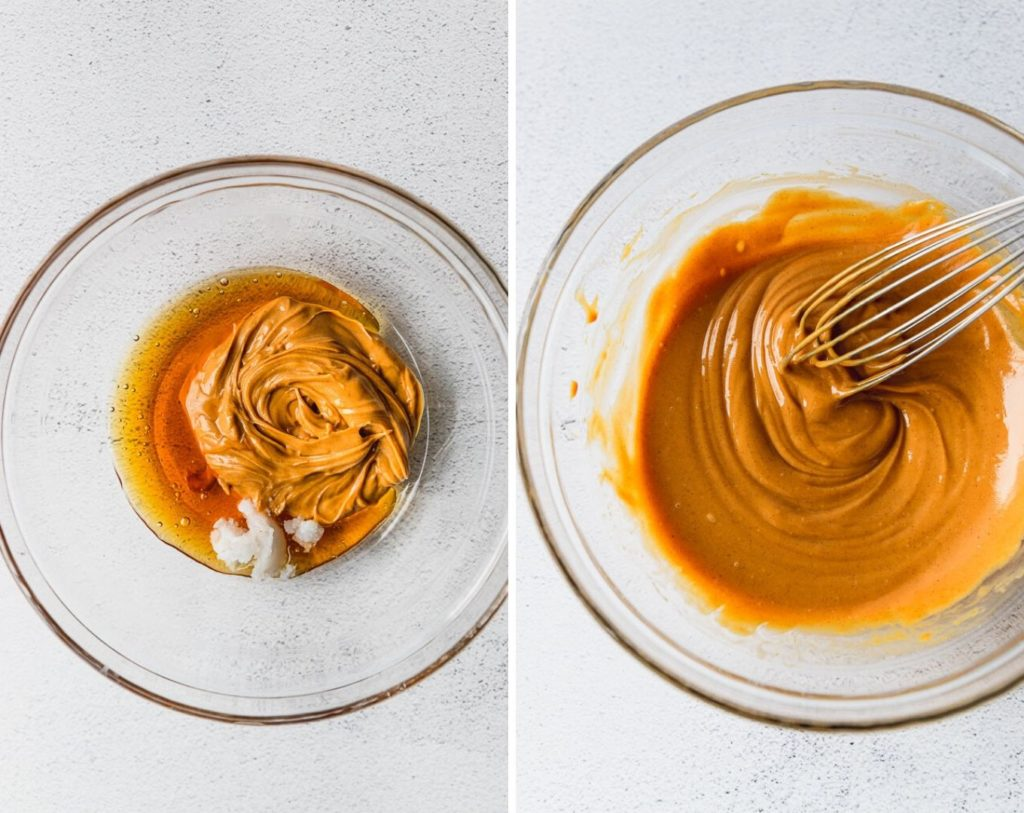 side by side photos of peanut butter, honey, and coconut oil in bowl and then melted