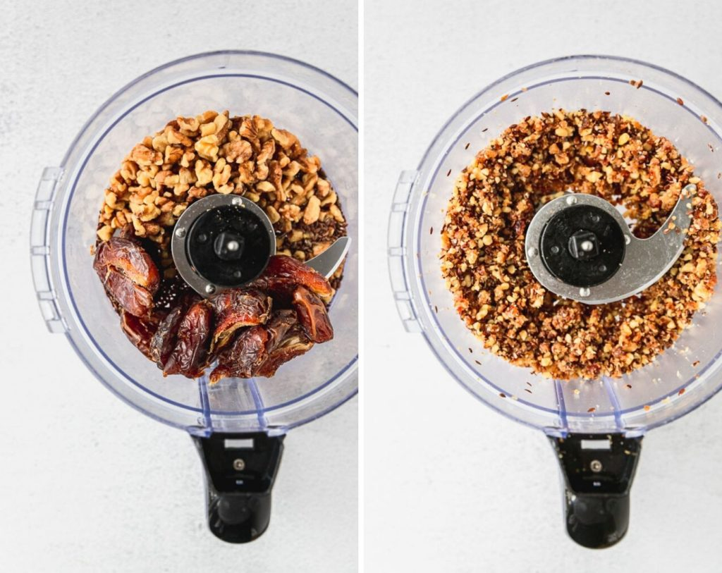 before and after photos of food processor with dates, walnuts, and flax seeds whole and chopped
