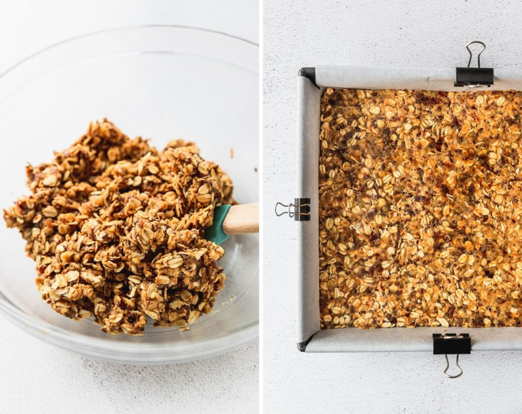 before and after of mixed granola bars in bowl and then pressed into a baking pan